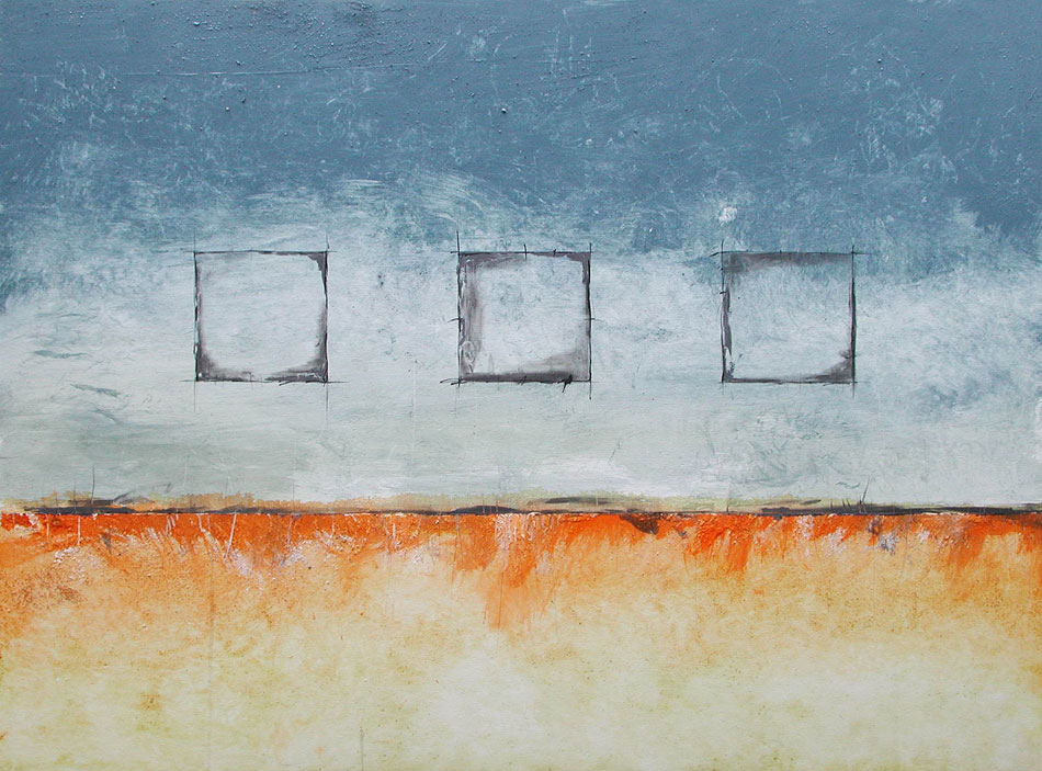 Mixed media painting by Domenick Naccarato with three squares and blue and orange colors