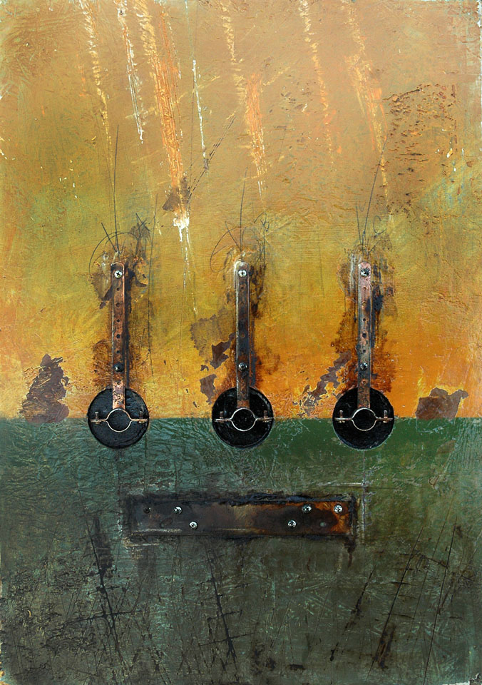 Three Pipe Hangers with a Mending Plate - painting by Dom Naccarato