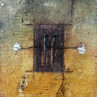 """Encaustic with Assemblage Art by Domenick Naccarato titled, """"Two Square Cut Nails with Copper Wire"""""""