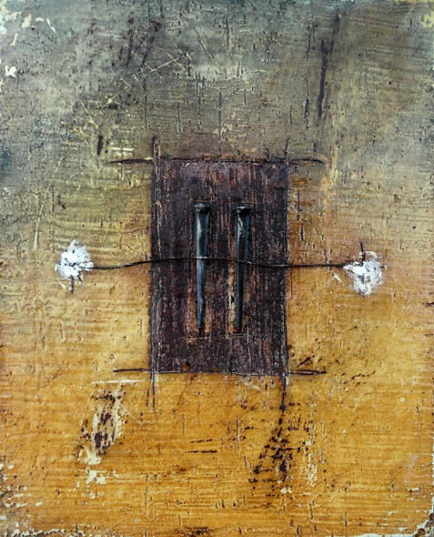 "Encaustic with Assemblage Art by Domenick Naccarato titled, ""Two Square Cut Nails with Copper Wire"""