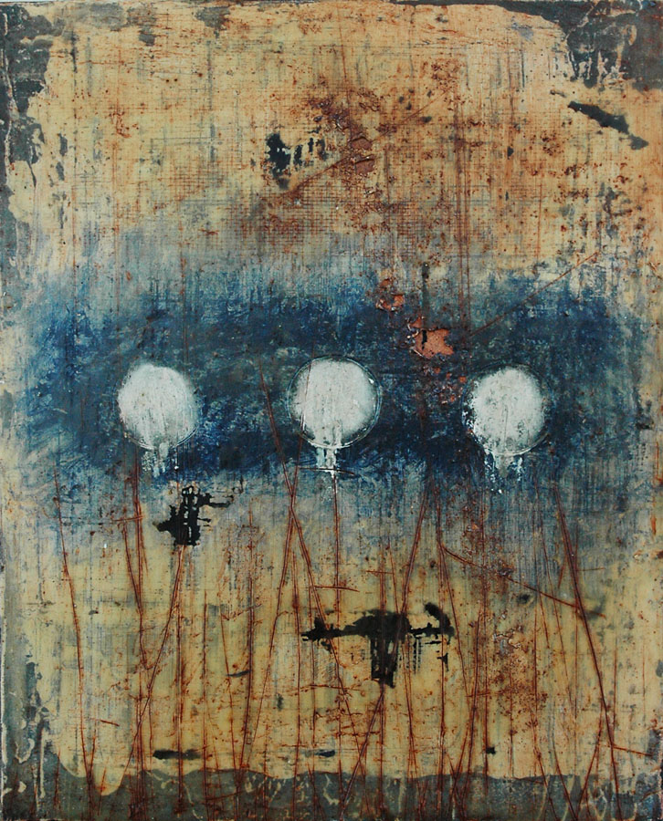 "Encaustic Art by Domenick Naccarato titled, ""Three Circular Imprints"""