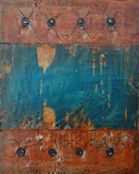 "Encaustic with Assemblage Art by Domenick Naccarato titled, ""Eight Carpet Tacks"""