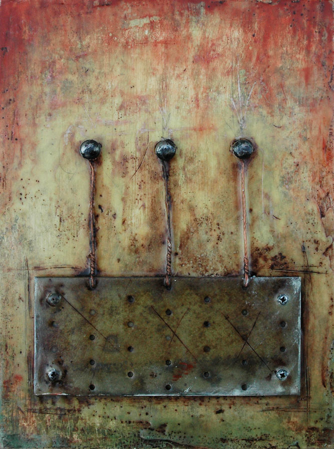 "Encaustic with Assemblage Art by Domenick Naccarato titled, ""Mending Plate Tethered To Three Bolts"""