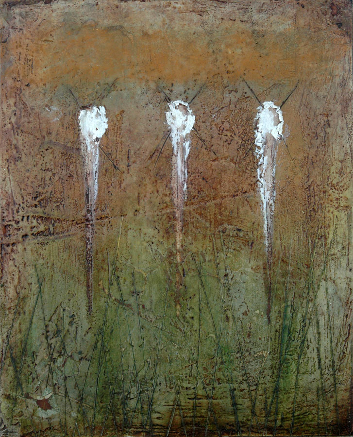 "Encaustic with Assemblage Art by Domenick Naccarato titled, ""Three White Marks Above Green"""