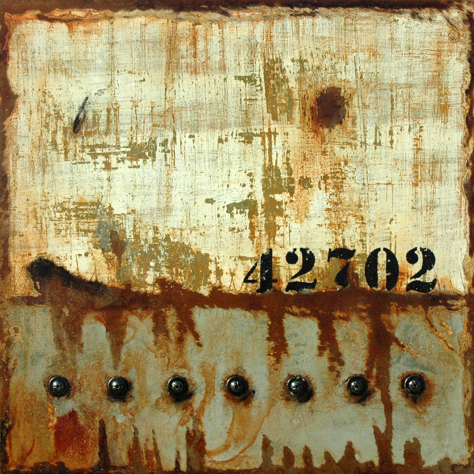 Markings: 42702 - Industrial themed mixed media art by Domenick Naccarato