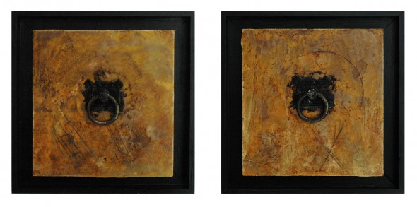 Paintings 7 and 8 (diptych) from the series: Small Encaustic Assemblages