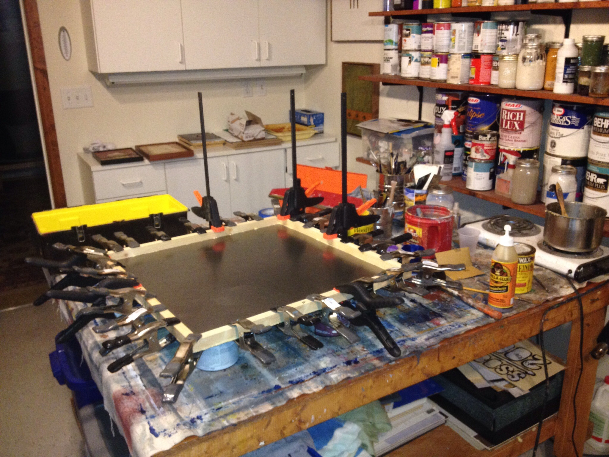 Art studio workbench mess