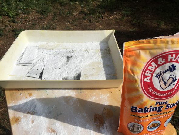 Neutralize the acid with water and baking soda