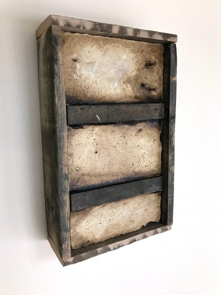 """'Concrete Remnants, No.1'   apx. 13.5"""" x 8.25"""" x 3.25""""   Mortar, wire mesh, nails, wood, roofing tar, and oil stick"""