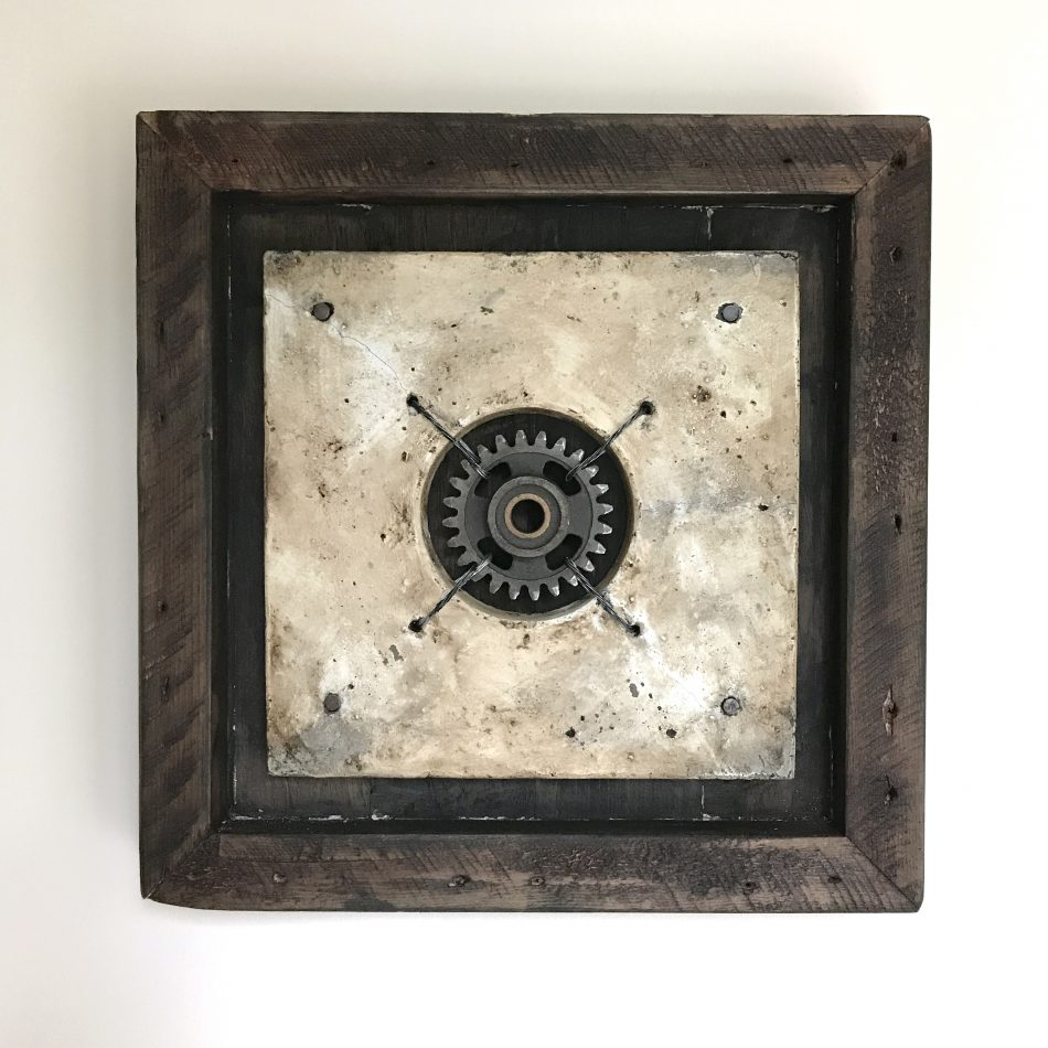 "'Concrete Remnants, No.9 (With a Cog)' | apx. 14.75"" x 14.75"" x 2.5"" 