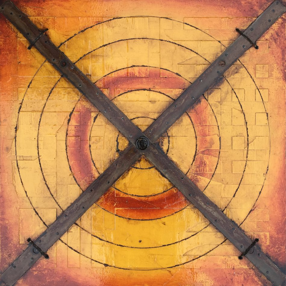 "'Five Concentric Circles with Tie Straps' | 24"" x 24"" 